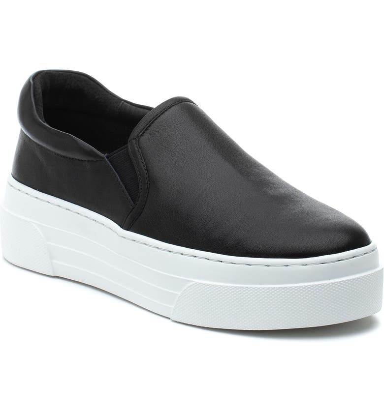 JSLIDES Aileen Platform Sneaker, Main, color, BLACK LEATHER