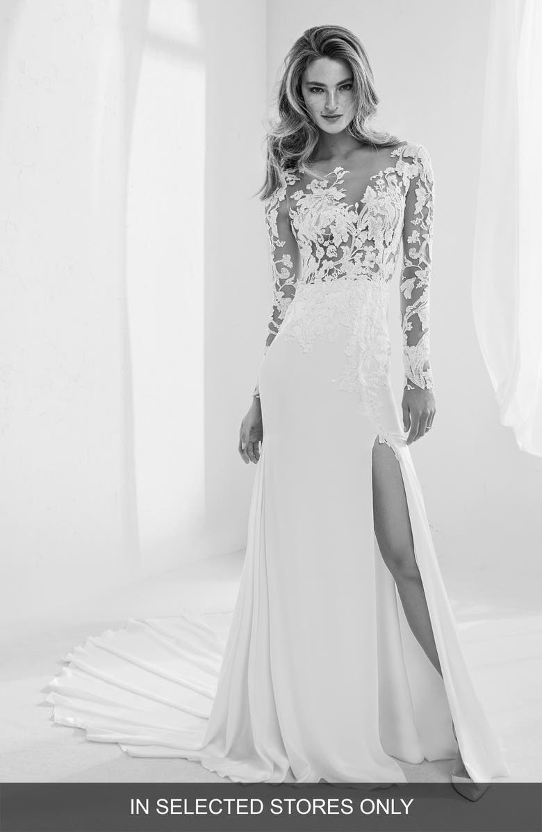 ATELIER PRONOVIAS Raine Embellished Illusion Mermaid Gown, Main, color, OFF WH/ CRST/ ND