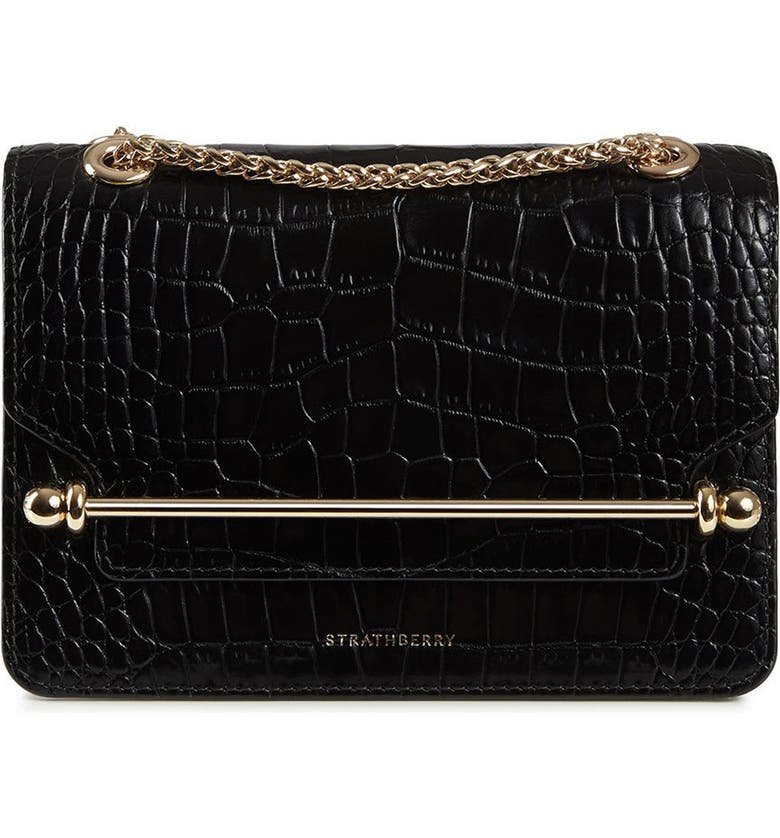 STRATHBERRY Mini East/West Croc Embossed Leather Crossbody Bag, Main, color, BLACK