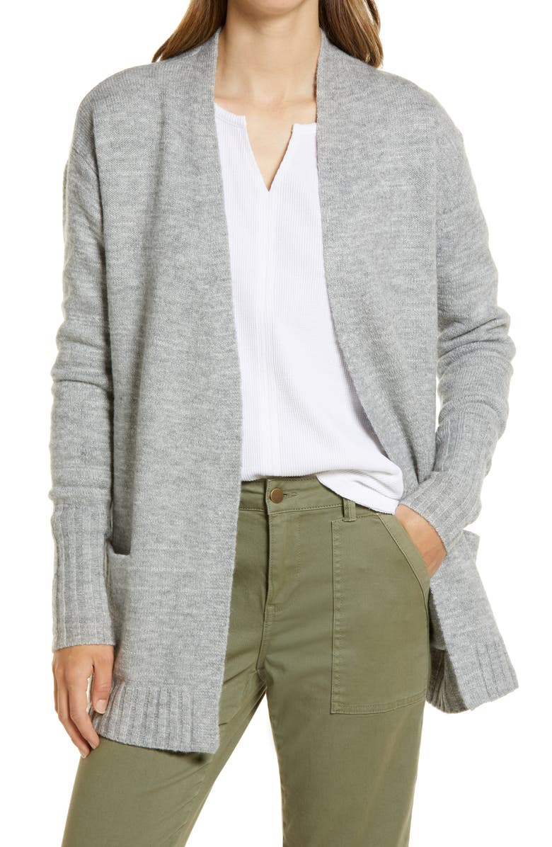 CASLON<SUP>®</SUP> Open Front Cardigan, Main, color, GREY HEATHER