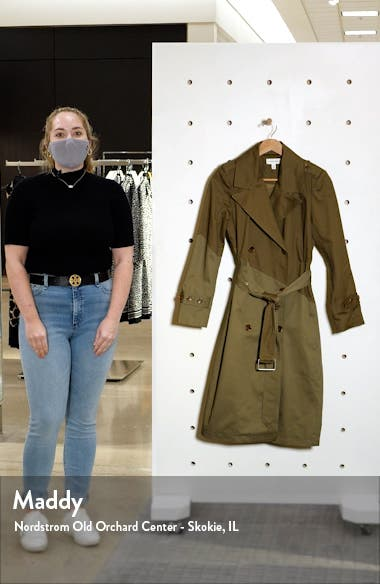 Pieced Colorblock Trench Coat, sales video thumbnail