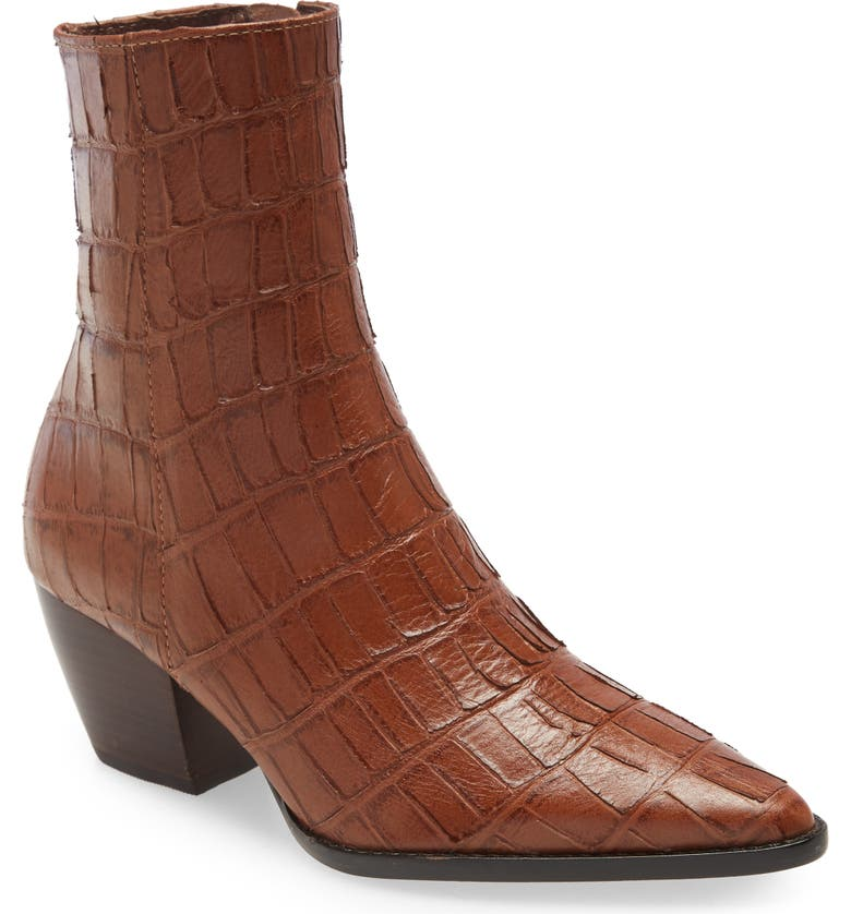 MATISSE Caty Western Pointed Toe Bootie, Main, color, CROCODILE PRINT LEATHER