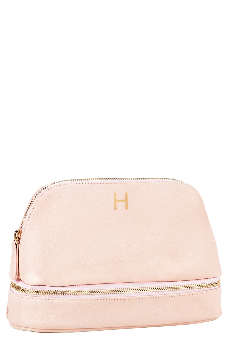 CATHY'S CONCEPTS Monogram Vegan Leather Cosmetics Case, Main, color, BLUSH PINK H