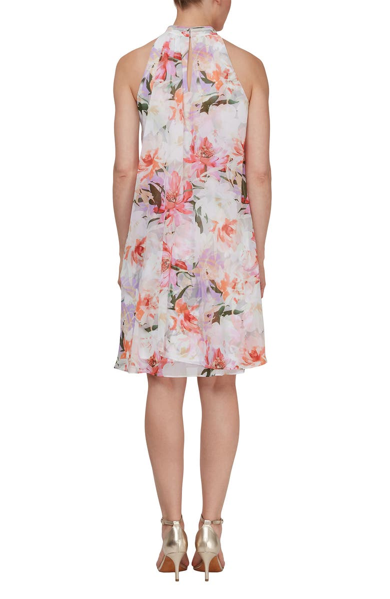 SLNY Ruched Neck Overlay Printed Dress, Main, color, TPM