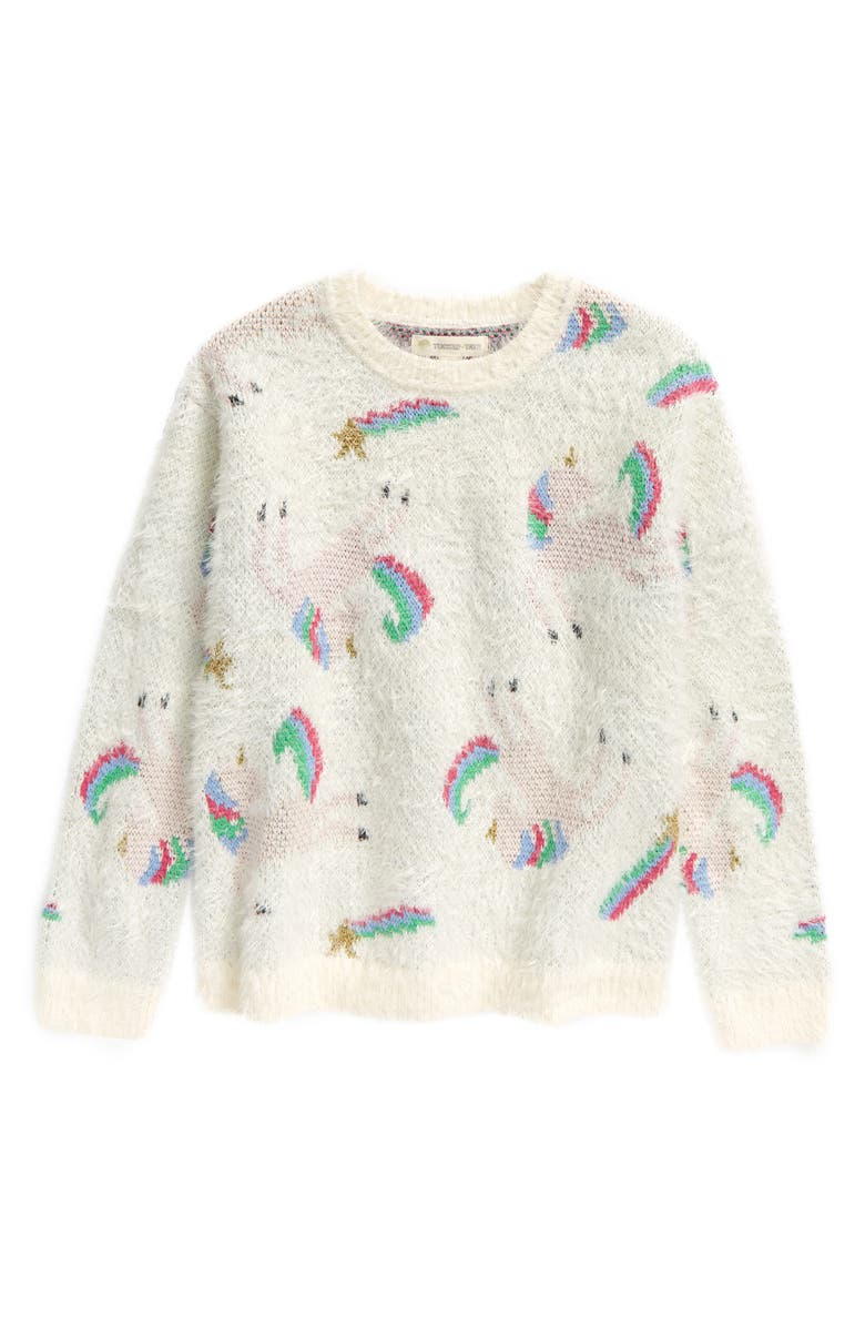 TUCKER + TATE Kids' Cozy Unicorn Sweater, Main, color, IVORY EGRET UNICORNS