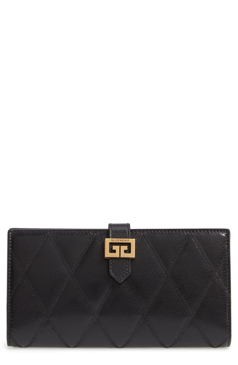 GIVENCHY GV3 Diamond Quilted Leather Wallet, Main, color, 001