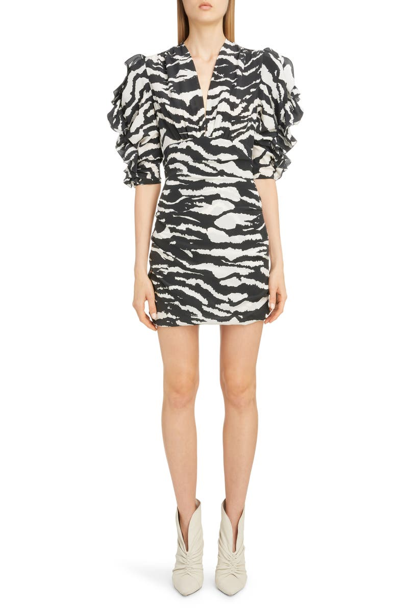 ISABEL MARANT Zebra Print Puff Sleeve Stretch Silk Minidress, Main, color, 001