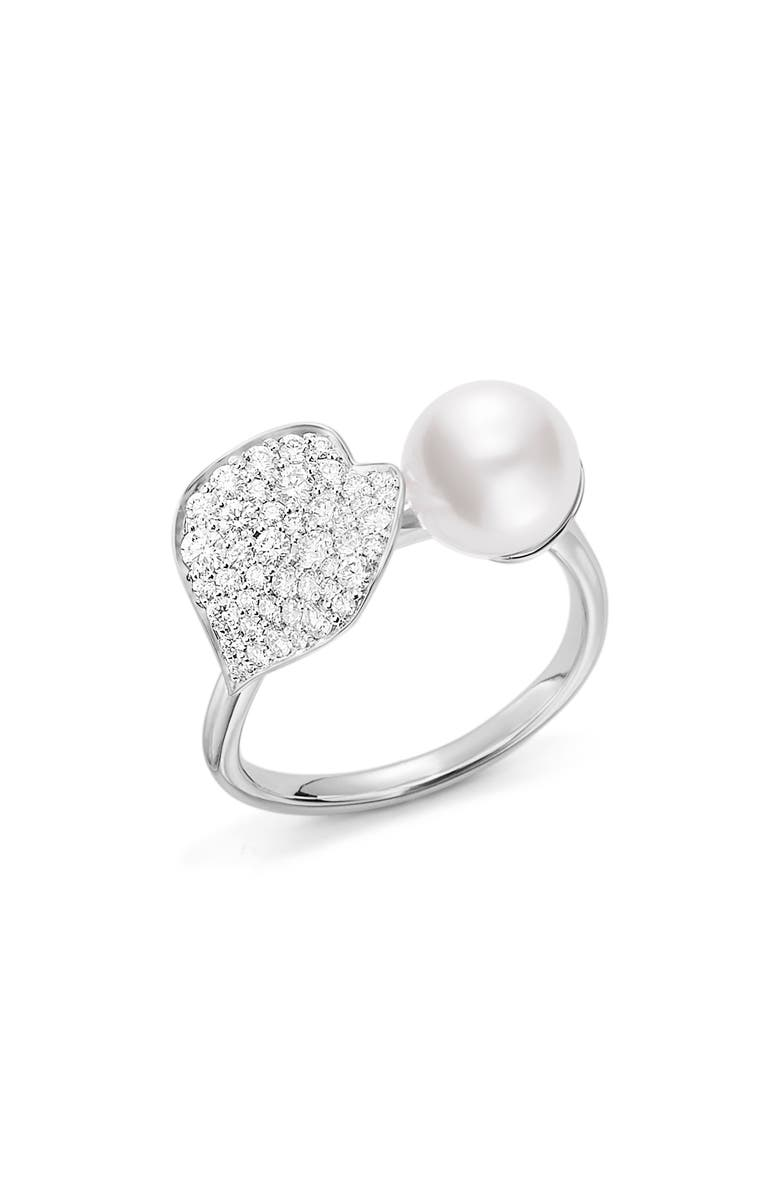 MIKIMOTO Diamond & Cultured Pearl Ring, Main, color, WHITE GOLD