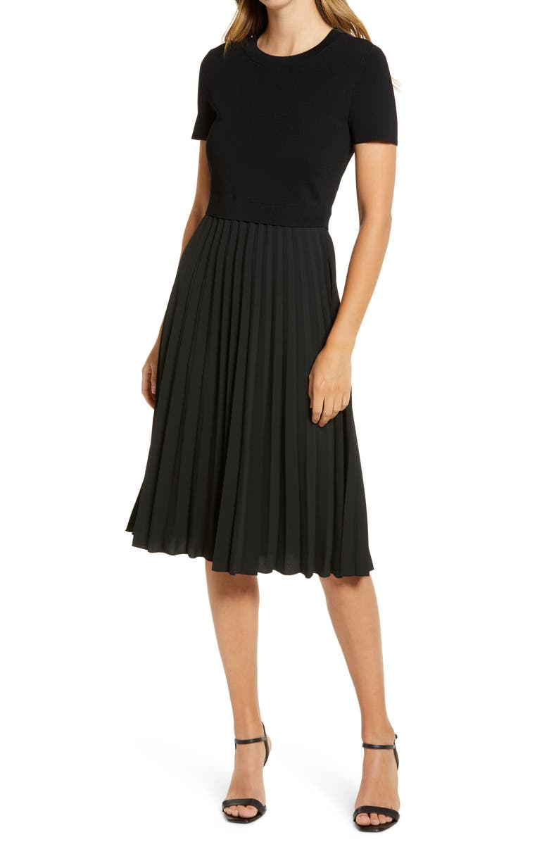 RACHEL PARCELL Pleated Mixed Media Dress, Main, color, 001