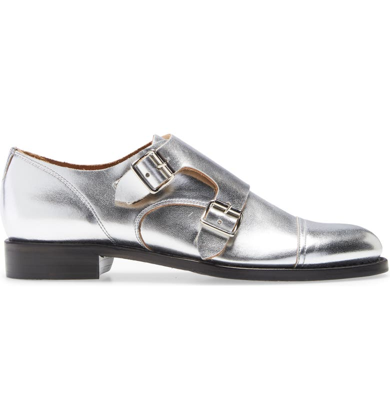 THE OFFICE OF ANGELA SCOTT Mr. Colin Double Monk Strap Shoe, Main, color, SILVER