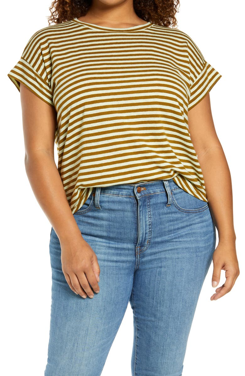 MADEWELL Linen-Blend Asbury T-Shirt, Main, color, WEATHERED OLIVE