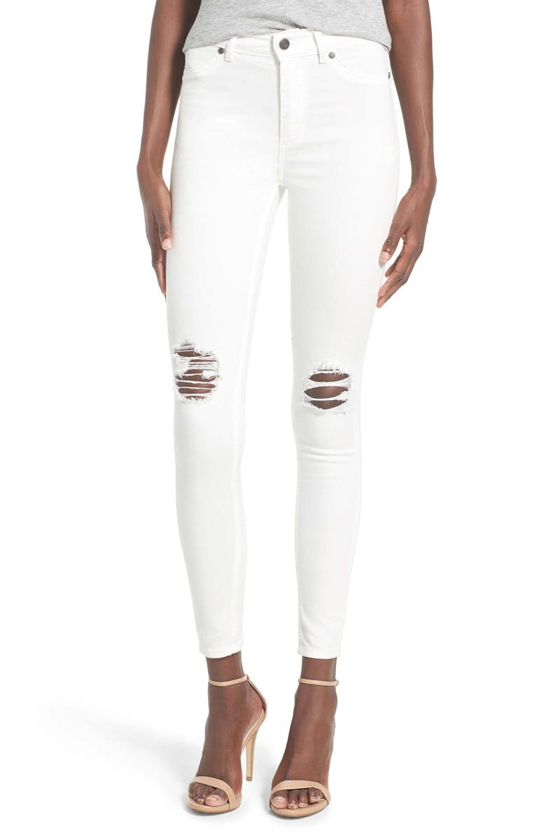 CHEAP MONDAY High Rise Distressed Skinny Jeans, Main, color, 100