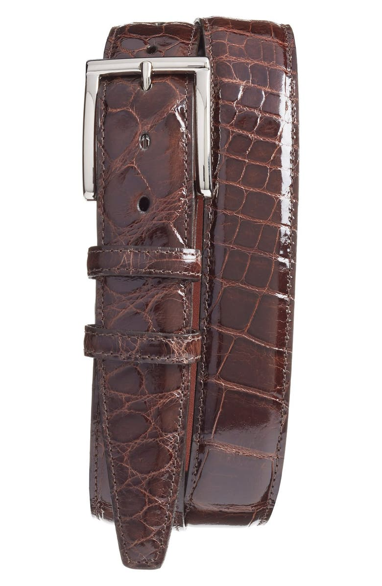 TORINO Genuine American Alligator Leather Belt, Main, color, Brown