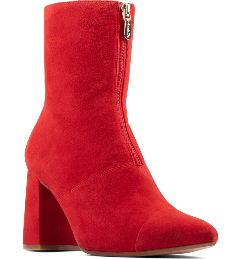 CLARKS<SUP>®</SUP> Laina85 Front Zip Bootie, Main, color, RED SUEDE