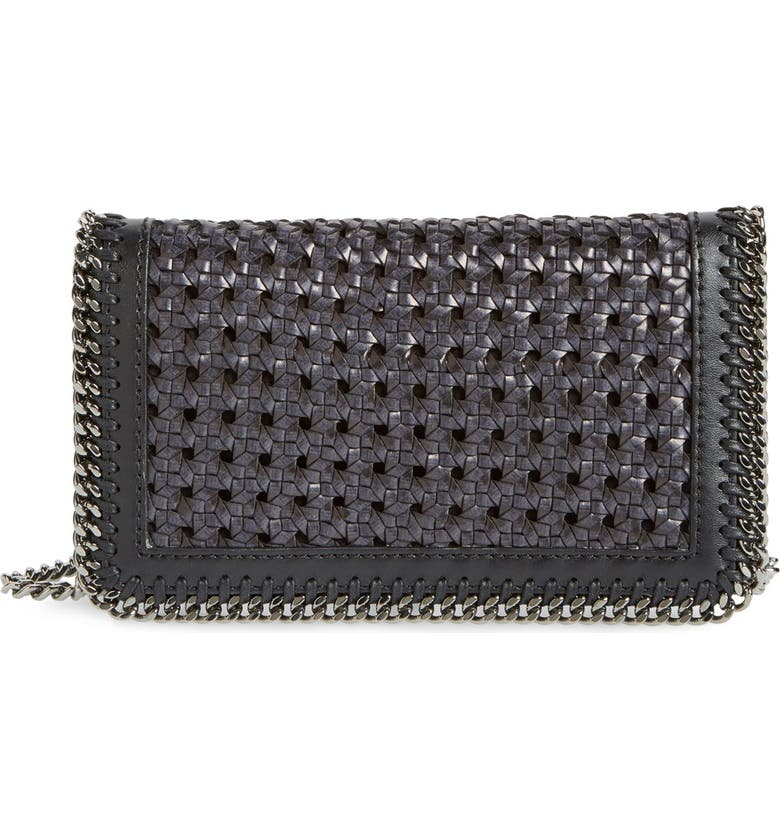 STELLA MCCARTNEY 'Falabella - Caned' Faux Leather Crossbody Bag, Main, color, 001