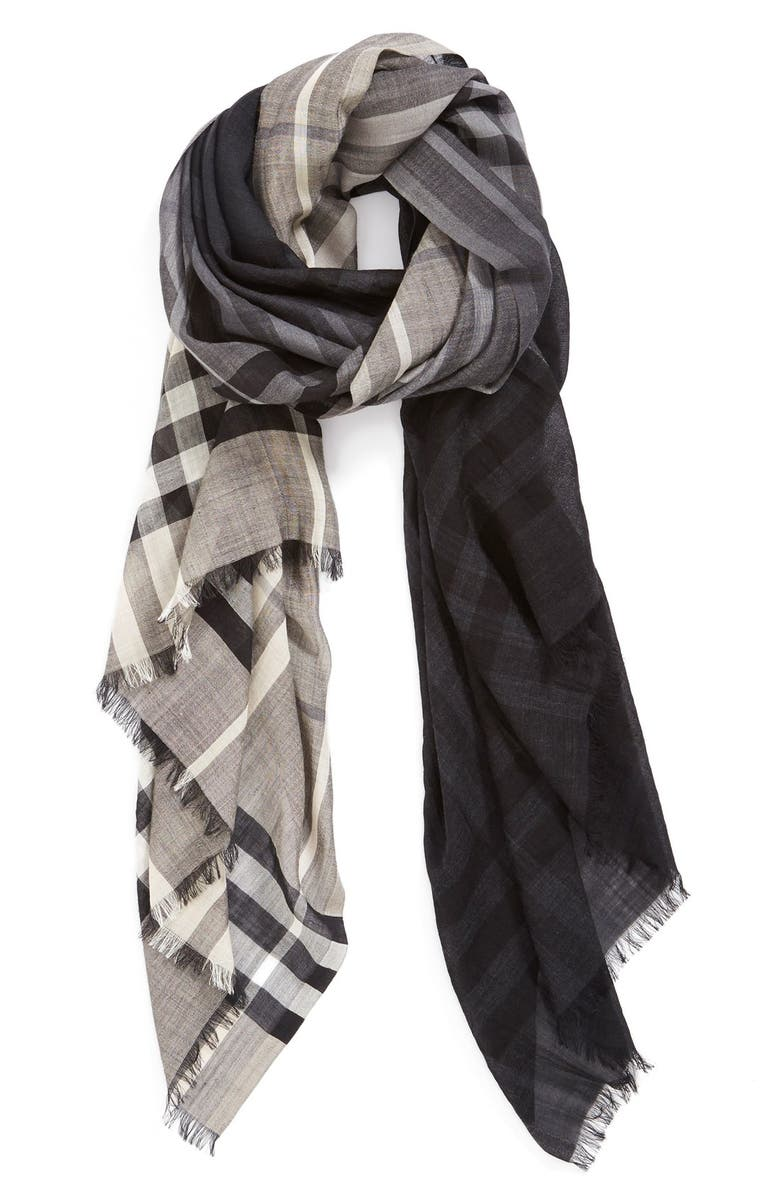 BURBERRY Ombré Check Wool & Silk Scarf, Main, color, CHARCOAL