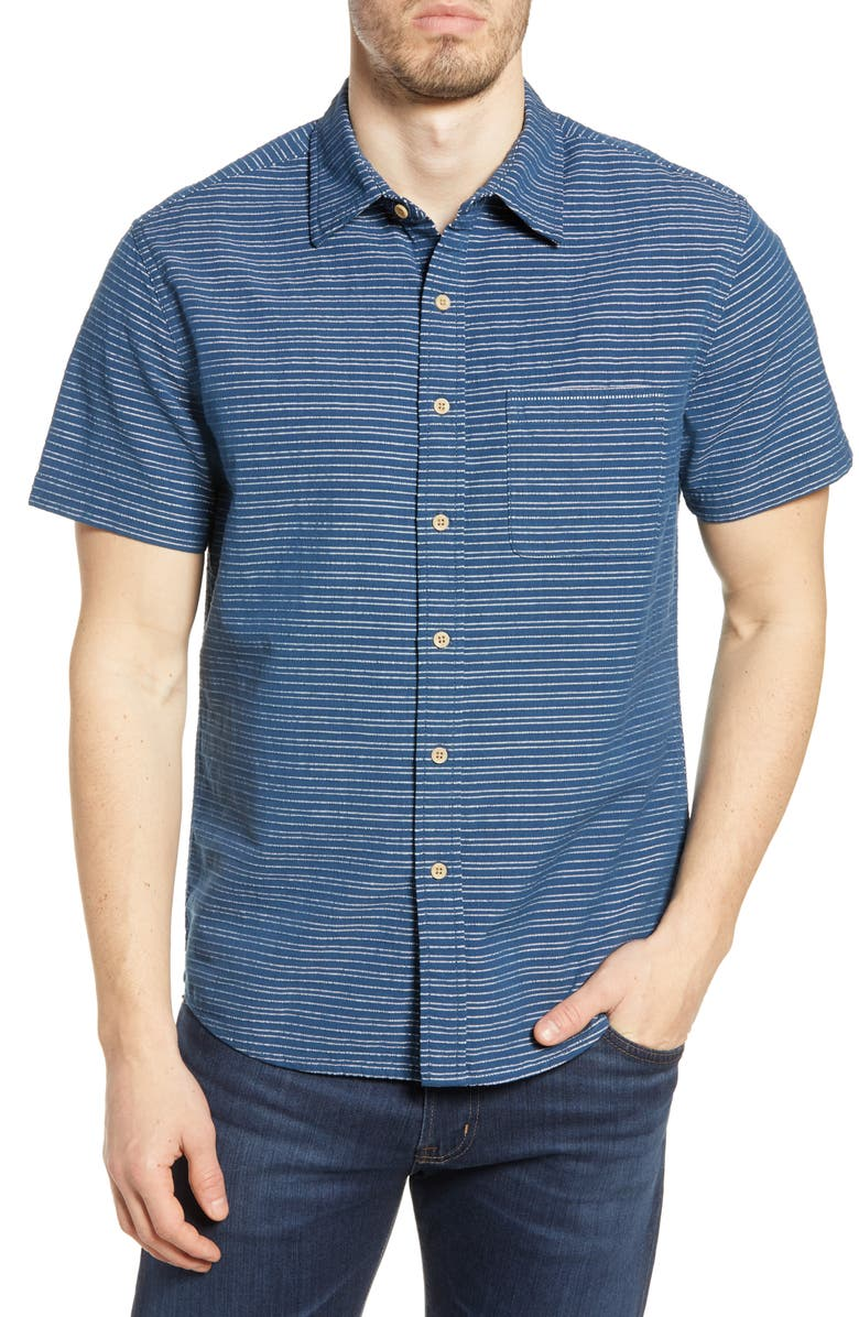 THE NORMAL BRAND Freshwater Stripe Regular Fit Shirt, Main, color, NAVY