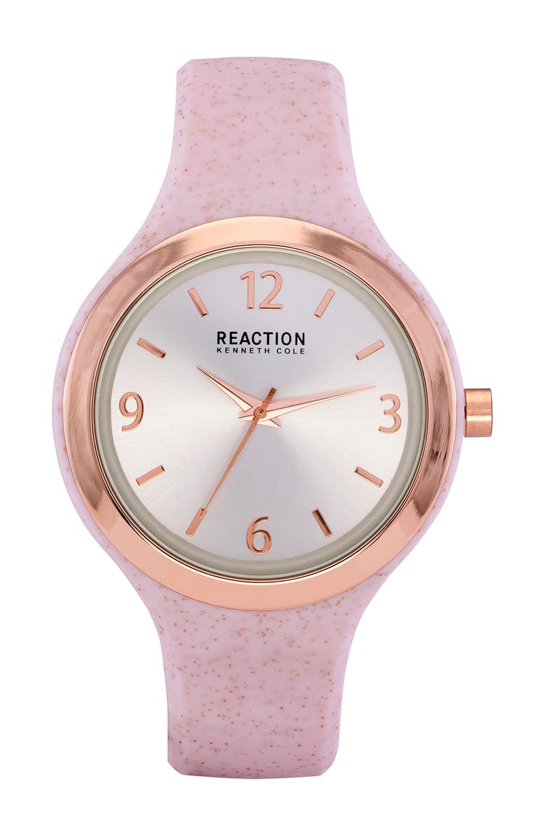 KENNETH COLE REACTION Women's Reaction 3 Hands Silver Dial Silicone Watch, 45mm, Main, color, PINK