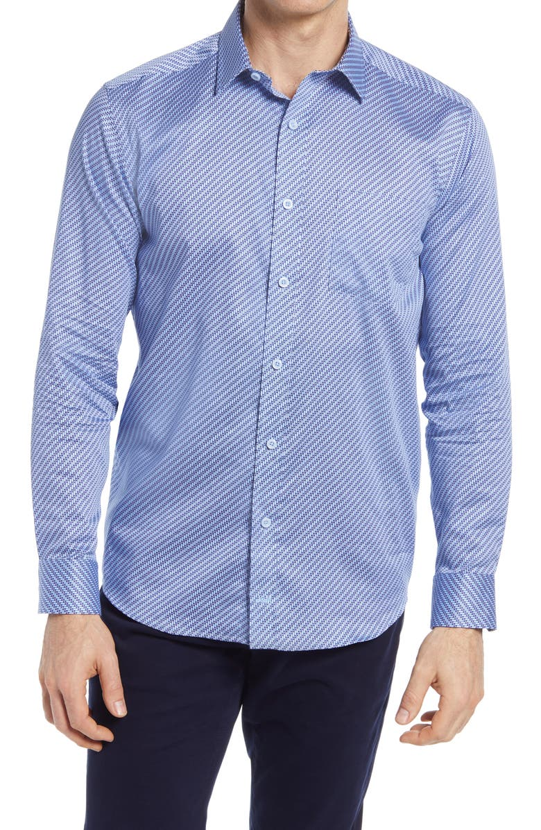 JOHNSTON & MURPHY Linked Bar Print Button-Up Shirt, Main, color, LT. BLUE