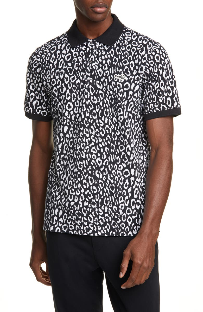 OVADIA Leopard Piqué Polo, Main, color, 001