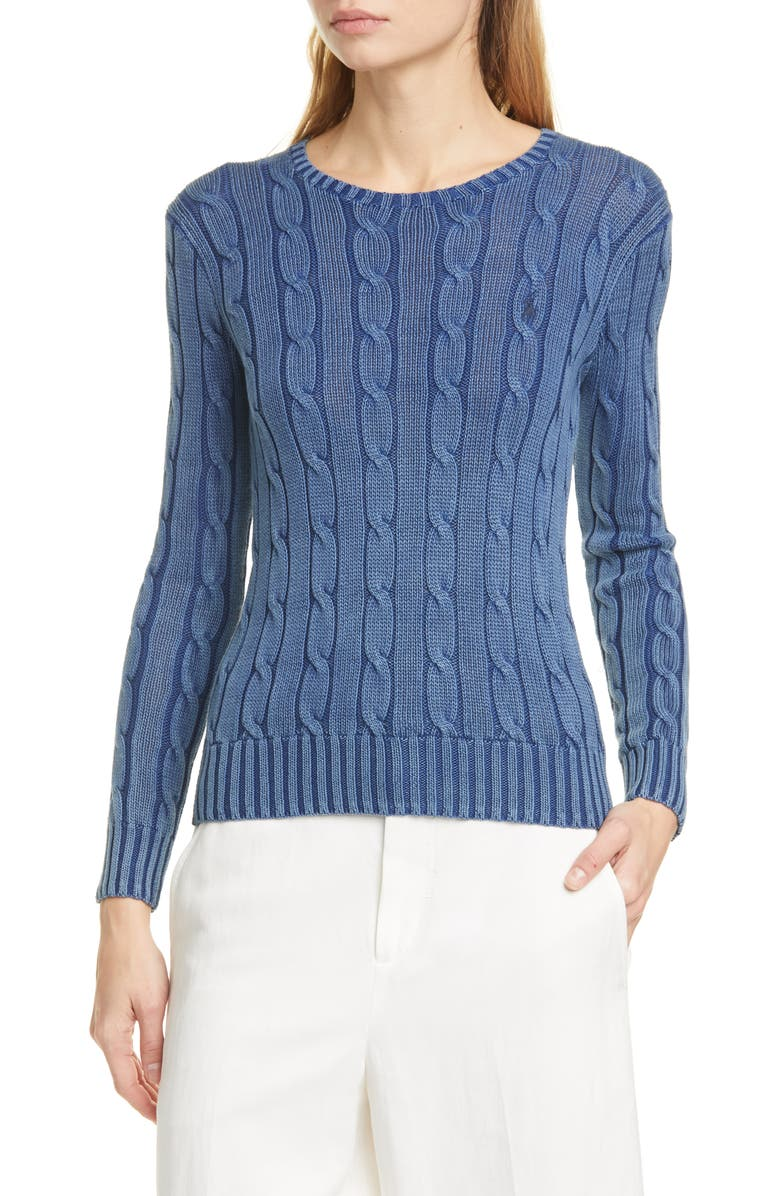 POLO RALPH LAUREN Juliana Cable Knit Cotton Sweater, Main, color, INDIGO