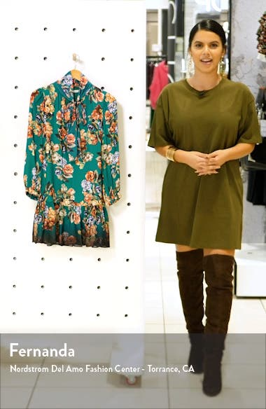 Merrilee Floral Long Sleeve Tie Neck Minidress, sales video thumbnail