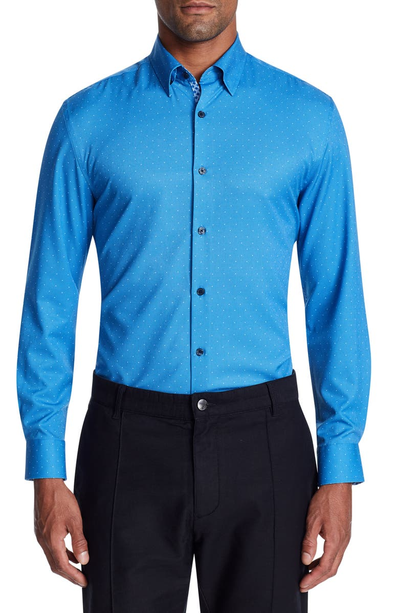 W.R.K Trim Fit Performance Stretch Dot Dress Shirt, Main, color, 400