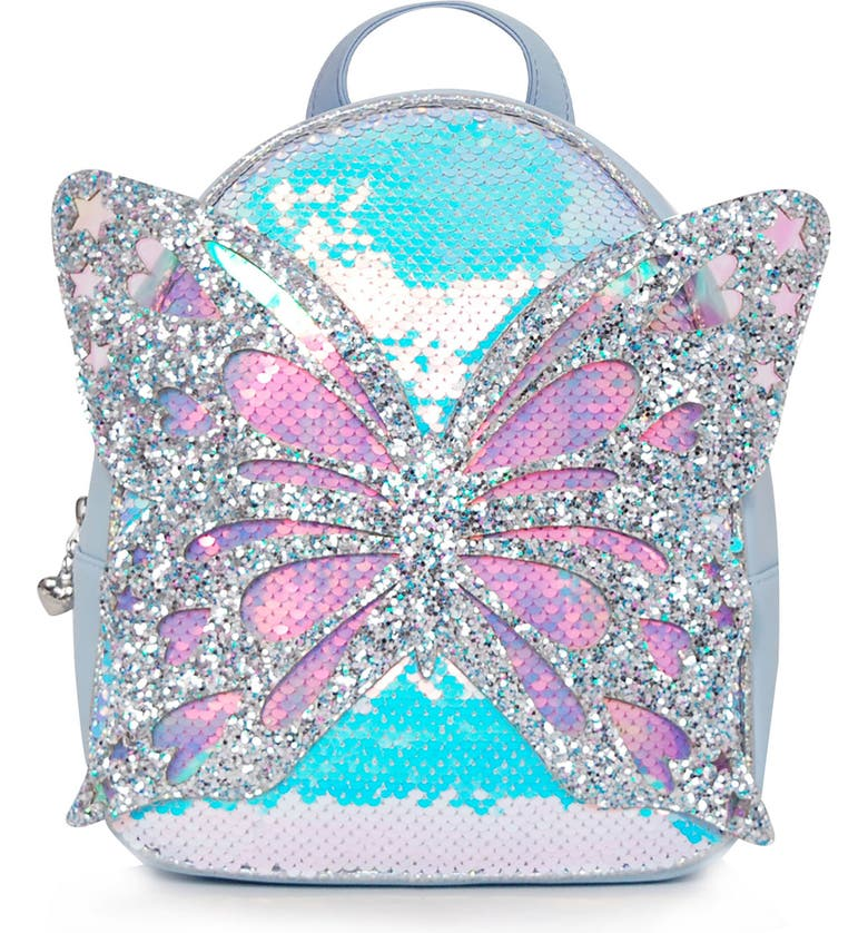 OMG ACCESSORIES OMG Miss Butterfly Sequin Mini Backpack, Main, color, LIGHT BLUE