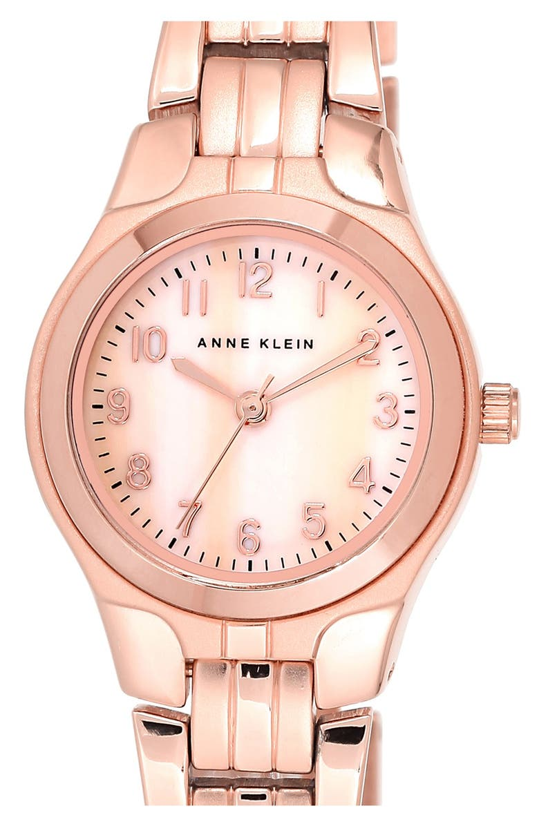 ANNE KLEIN Mother-of-Pearl Dial Bracelet Watch, 26mm, Main, color, 711