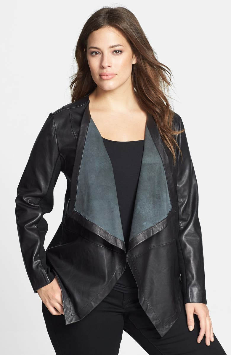 SEJOUR Waterfall Front Leather Jacket, Main, color, 001