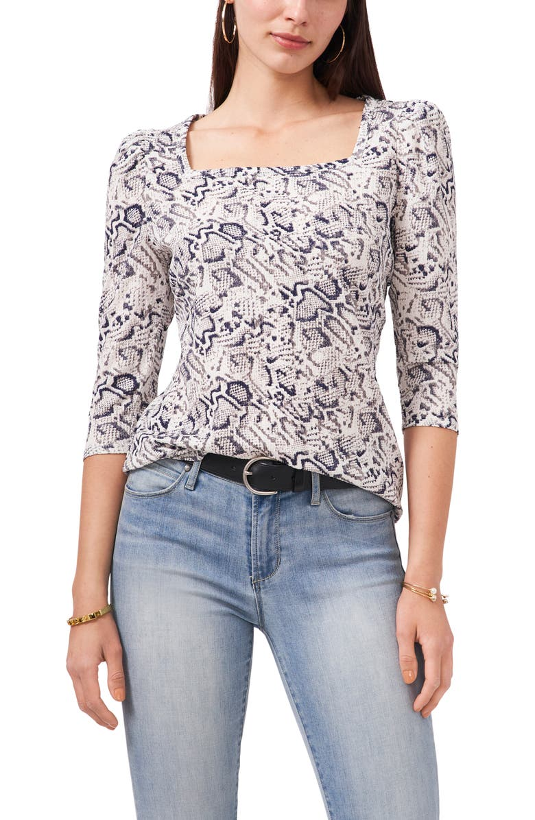 VINCE CAMUTO Snake Whispers Square Neck Top, Main, color, ULTRA WHITE
