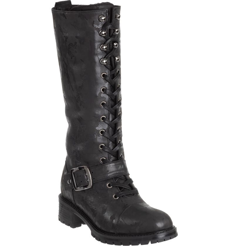 ROSS & SNOW Lorinda Genuine Shearling Lined Weatherproof Boot, Main, color, BLACK CAMOUFLAGE LEATHER