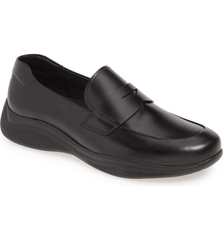 PRADA Penny Loafer, Main, color, NERO