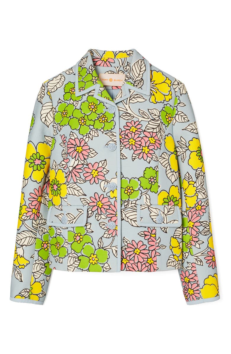 TORY BURCH Wallpaper Floral Twill Crepe Jacket, Main, color, BLUE WALLPAPER FLORAL