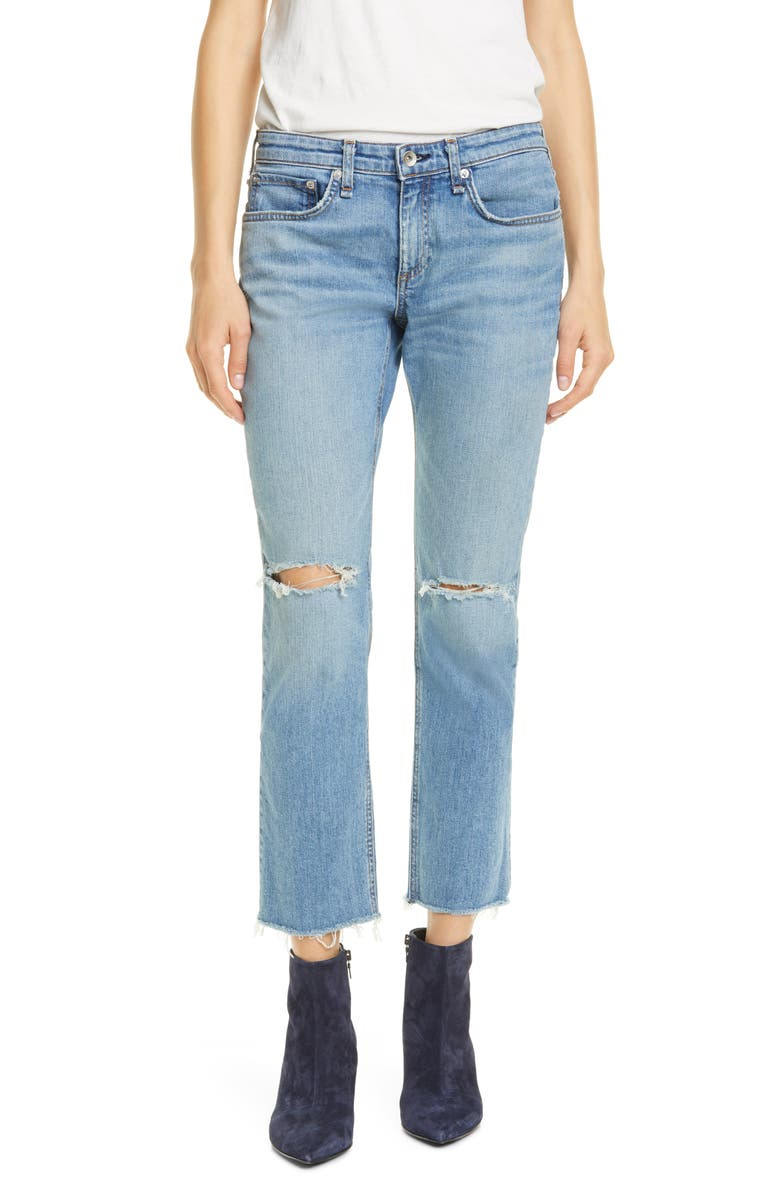 RAG & BONE Dre Ripped Ankle Slim Boyfriend Jeans, Main, color, 420