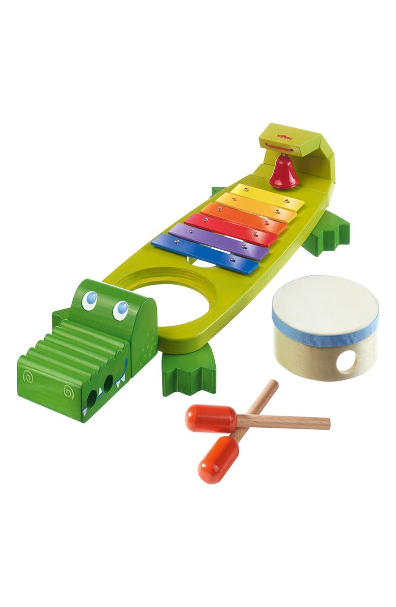 HABA Symphony Croc Xylophone Set, Main, color, GREEN/ BLUE/ PURPLE/YELLOW/RED