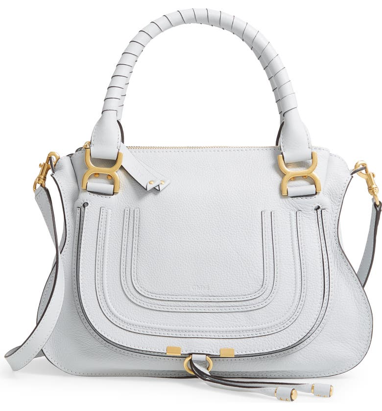 CHLOÉ Medium Marcie Calfskin Leather Satchel, Main, color, LIGHT CLOUD