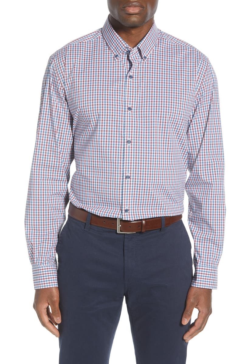 CUTTER & BUCK Soar Classic Fit Mini Check Button-Down Performance Shirt, Main, color, MARS