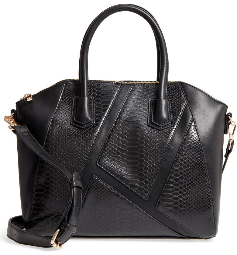 SOLE SOCIETY Chase Faux Leather Satchel, Main, color, 001