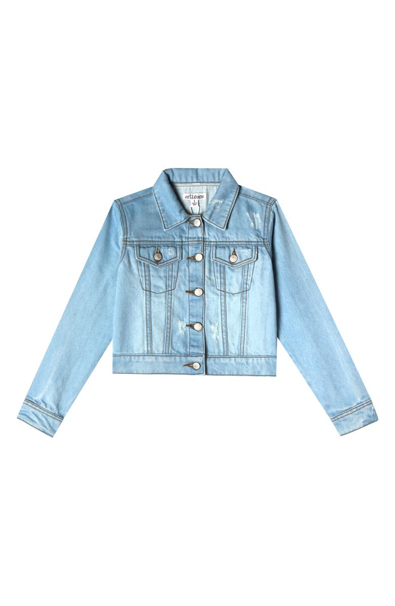 ART & EDEN Nalia Denim Jacket, Main, color, BLUE WASH
