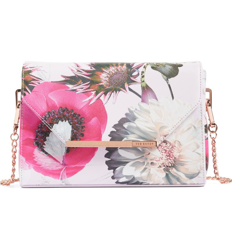 TED BAKER LONDON Panello Neon Poppy Textured Bar Crossbody Bag, Main, color, NUDE PINK