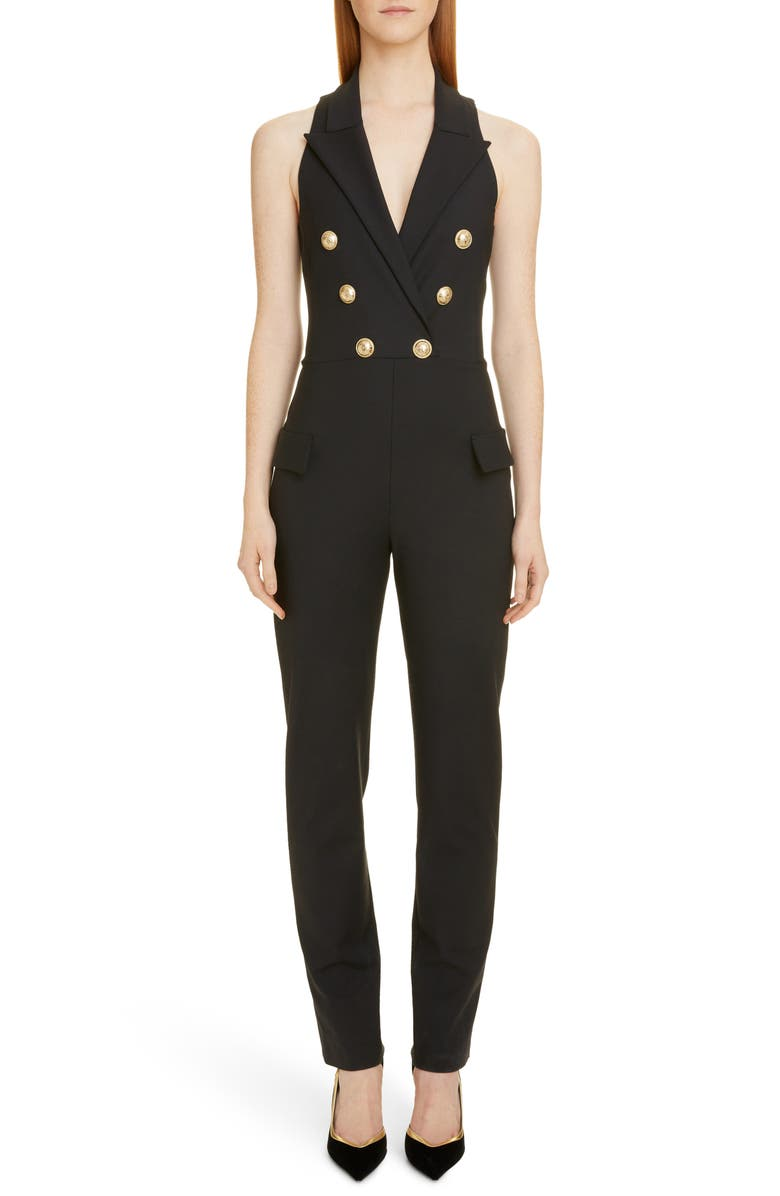 BALMAIN Double Breasted Jumpsuit, Main, color, 001