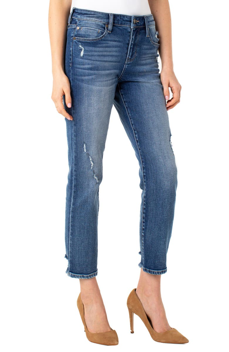 LIVERPOOL LOS ANGELES Distressed Ankle Straight Leg Jeans, Main, color, KENNEDY