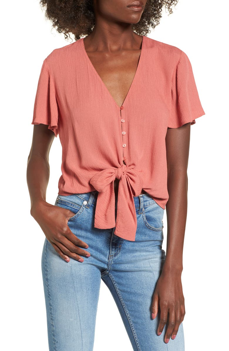 --- Knot Front Shirt, Main, color, 219