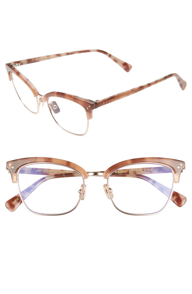DIFF Lucy 51mm Blue Light Blocking Cat Eye Glasses, Main, color, BROWN/ ROSE CRYSTAL/ CLEAR