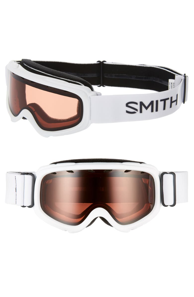 SMITH Gambler 164mm Youth Fit Snow Goggles, Main, color, WHITE/ ORANGE