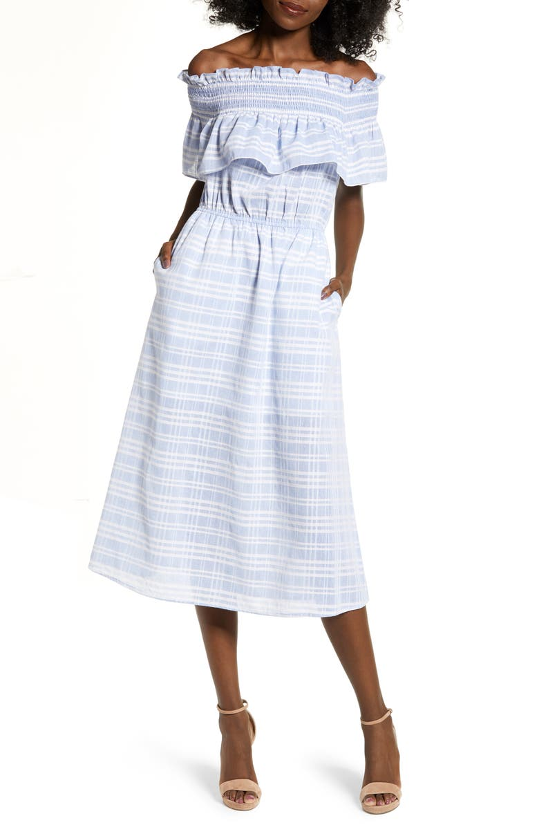 ENGLISH FACTORY Off the Shoulder Smocked Midi Dress, Main, color, 400