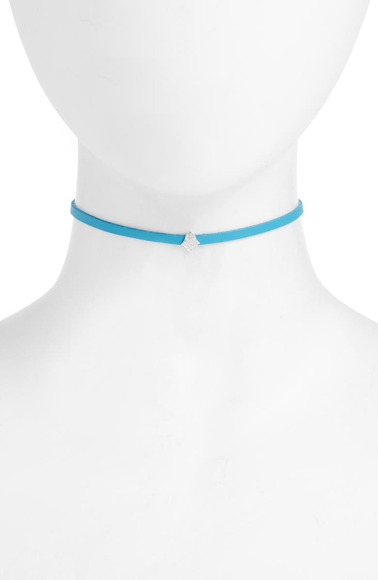 KNOTTY Charm Choker, Main, color, TURQUOISE/ RHODIUM CHAIN