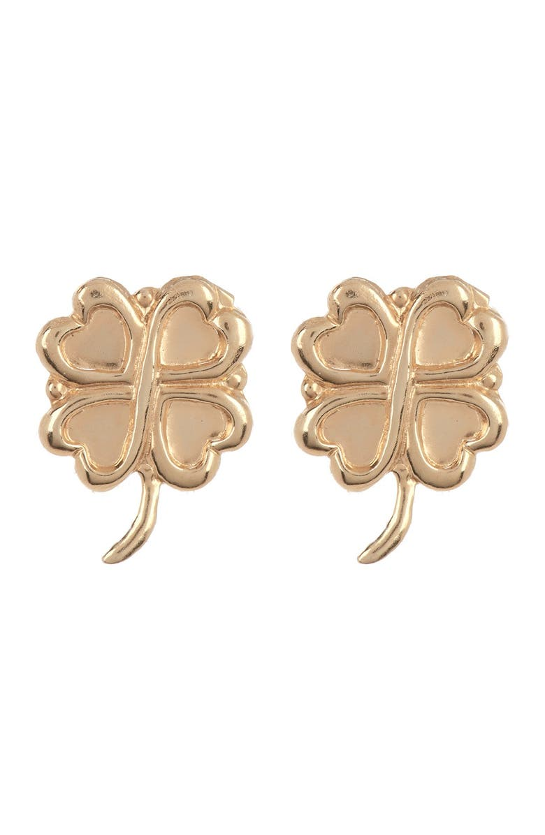 CANDELA JEWELRY 14K Yellow Gold 4-Leaf Clover Stud Earrings, Main, color, GOLD