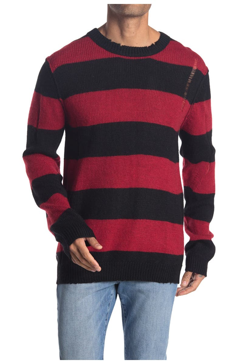 ZADIG AND VOLTAIRE Bensti Striped Wool & Alpaca Blend Sweater, Main, color, PASSION